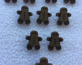 GINGERBREAD MAN ~ 10 x Brown Buttons ~ Approx 17mm x 15mm
