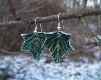 Green Leather Ivy Leaf Earrings