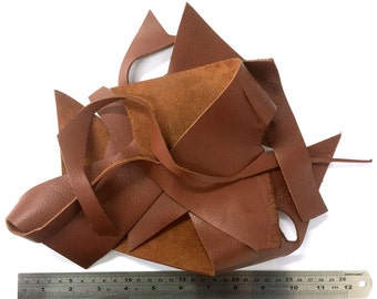 Diy kit Craft kit Bookbinding Leather craft Full grain Leather scraps Ephemera pack Cowhide remnants Leather remnants Bookbinding tools
