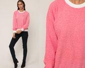 Lee Sweatshirt Striped Ringer Shirt Slouchy Sports 80s Sweatshirt Pullover Red Raglan Sleeve 1980s Vintage Retro Extra Large xl