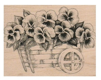 rubber stamp Pansy Cart   flower  stamps  stamping scrapbooking supplies no 1166 garden flowers