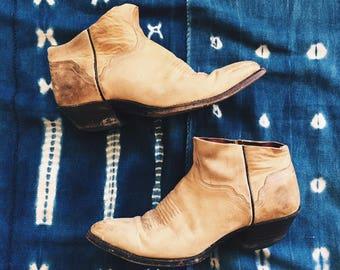 Vintage en cuir Tan récupéré Santiags coupure