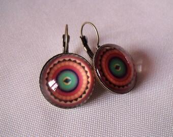 LIQUIDATION cabochon earrings 20mm multicolored