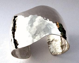 Sterling Silver Cuff Bracelet, Soft Curve, Hammered