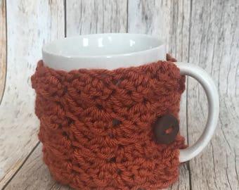 Cup cozy, Mug Cozy, Coffee Cup Cozy, Crocheted Cozy with Handmade Polymer Clay Button, terra cotta orange Mug/ Cup Cozy, Tea Cup Cozy