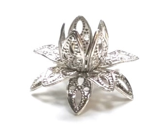 Filigree Flower Bead Caps, Antique Silver, Multiple Layer Flower, Bendable, Moldable, Vintage Look, 2mm Hole, Lot Size 10 to 40, #2054