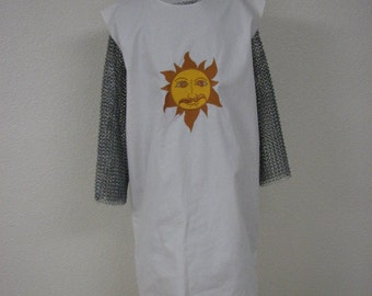Medieval Knight Tunic with Silly Sunshine Crest, King Arthur,  surcoat, tabard, renaissance garb, cosplay, Search for the Holy Grail, NEW