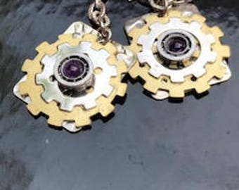 GEAR UP! STEAMPUNK Earrings with Brass and Silver Gears