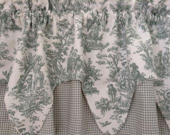 VINTAGE WAVERLY TOILE and Check Valances Shabby French Cottage Prairie French Farmhouse Chic