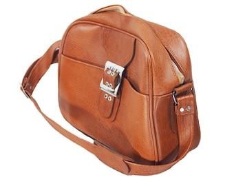 Vintage 70's Brown Vinyl Shoulder Carry On Travel Bag w/ Key