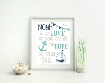 NAUTICAL NURSERY DECOR - Sailing Decor - Personalized Nursery Decor  -  8x10 Print Unframed - Nursery Wall Art