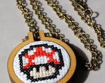 Mario Mushroom Cross Stitch Necklace
