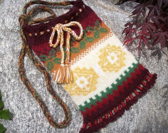 Peruvian Style Knitted and Felted Wool Shoulder Bag