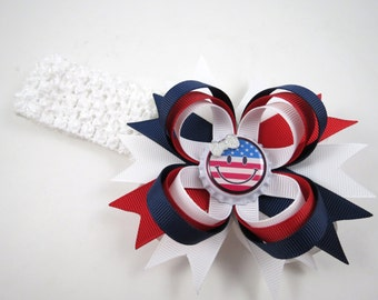 4th of July Red White and Blue Hair Bow or Headband - Patriotic Headband - Red and Blue Hair Bow - 4th of July Headband - HEADBAND OPTION