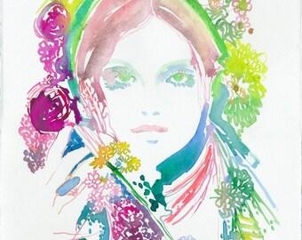 Nature Fashion Illustration Print, Watercolour Fashion, Fashion Illustration, Cate Parr, Fashion sketch, Fashion Print, Fashion wall art