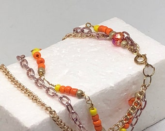 Orange burst and yellow seed bead and crystal clusters with double layer of chain triple layered tropical beach beaded woman anklet handmade