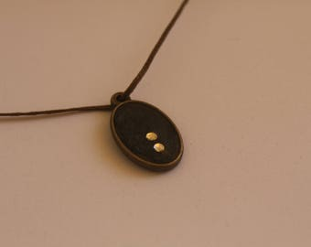 oval necklace with  glass