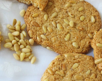 Paleo Pignoli Pine Nuts Cookies with Honey, Grain Free, Gluten Free, Low Carbs, Chewy & Rich