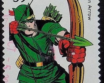 Green Arrow Cartoons, USA -Handmade Framed Postage Stamp Art 10556