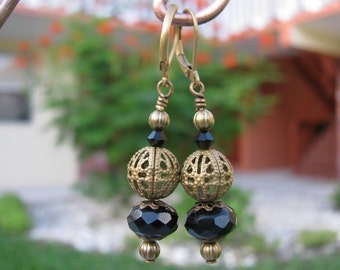 Brass Filigree Earrings with Jet Swarovski and Black Czech