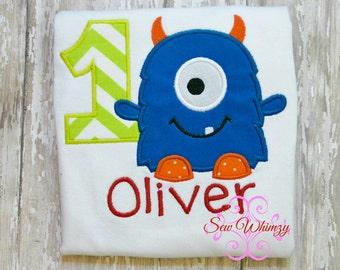Monster Birthday shirt- Boy Monster shirt- Birthday Boy shirt- Monster t shirt- Monster applique shirt- monogram monster- custom birthday
