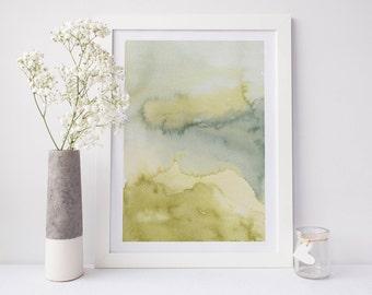 Printable abstract art, watercolour wall art, green print, green watercolor print, watercolor art, abstract art, abstract watercolor art