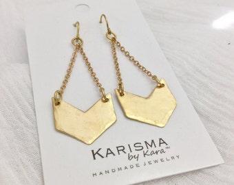 Brass Chevron Earrings, Gold, Dangle
