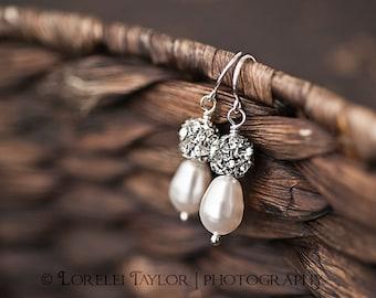 White Pearl Earrings - Swarovski Crystals - Bridal Jewelry