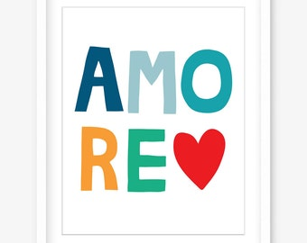 Amore poster download - love printable art poster - Italian print - amore printable love word art - instant valentines gift - DIGITAL POSTER