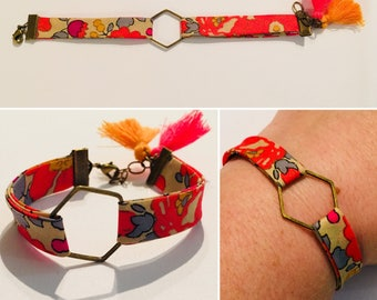 Bracelet obliquely Liberty floral Pinks and orange