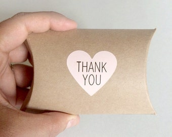 20 pink heart thank you stickers - thank you label - wedding heart favor sticker - wedding favors - envelope seals - gift wrapping stickers