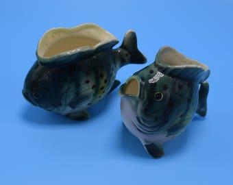 Vintage Ceramic Fish Planters- Set of 2