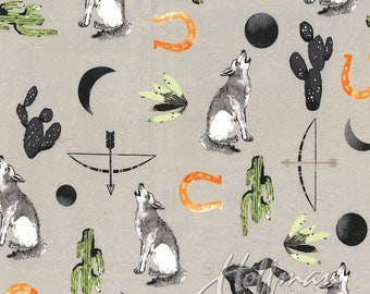 Coyote Fabric, 1 Yard, Southwestern, Hoffman California, Cactus, Coyote, Arrow, Moon, Horse Shoe, Howl  at the Moon, Moon Phases, Wolf Song