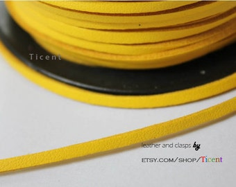 10 Yards 3mm Patent Faux Suede Leather, Yellow Coated Suede Leather CS3M170