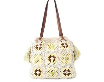 Cream shoulder bag large hobo bag boho crochet purse granny bag crochet large shoulder bag crochet tote bag hippie purse carryall bohemian