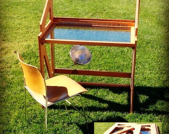 Retro Folding Artist Desk - glass top