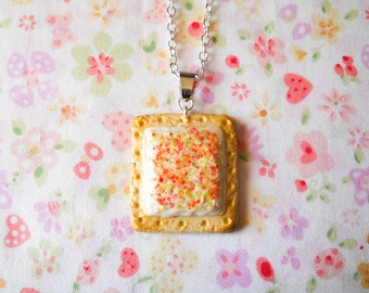 Pop Tart Necklace, Food Necklace, Miniature Food, Charm Necklace, Polymer Clay, Cute Necklace, Pastry, Breakfast Pastry, Food Jewelry