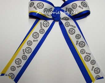 Volleyball Ribbon Bow, Volleyball Blue Yellow Bow, Volleyball Ponytail Holder Ties, Volley Ball Accessories, Team Bows Cheap Bulk Price Sale