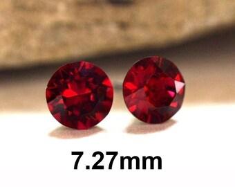 7.27mm Ruby Rhinestone Studs, Red Rhinestone Stud Earrings, Crystal Stud Earrings, July Birthstone Crystal Earrings
