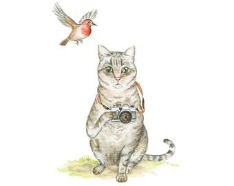 The Bird Watcher // Cat, Bird, Giclee Print