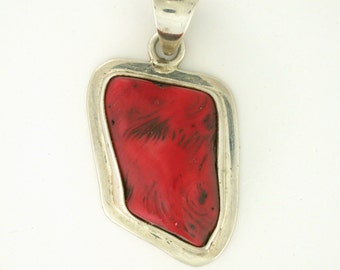 Natural Coral Bezel Set Sterling Silver Pendant Necklace - SS10091