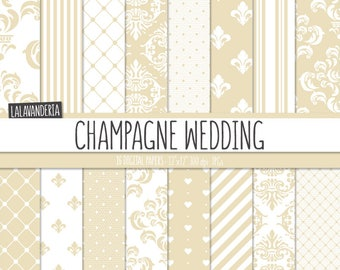 Champagne Wedding Digital Paper Package. Damask - Lace Backgrounds. Printable Papers Set. Patterns Digital Scrapbook. Instant Download
