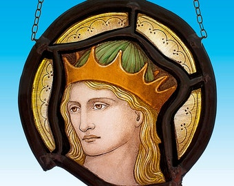 Perceval, stained glass fragment, Holy Grail stained glass, Parsival stained glass fragment, holy grail, Parcival, Parzival, Grail Knight