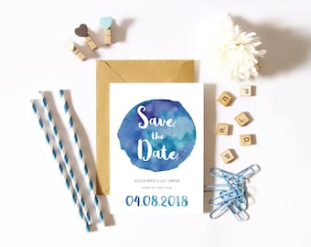 THE KATHLEEN + JACK Save the Date - watercolor splash save the date invitation - personalized save the date - digital + printed