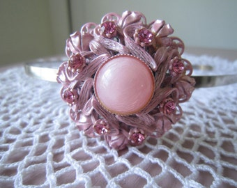 Vintage valentine soft pink rhinestone, brooch headband. One of a kind piece very cute