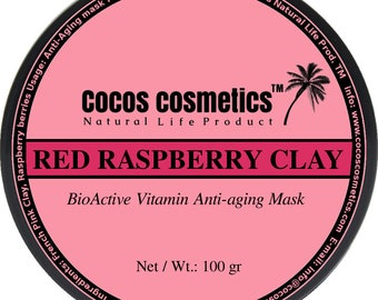 Mothers Day gift/ Raspberry  French Pink Clay facial antioxidant mask - skin whitening - vegan skin care -all skin types anti aging mask