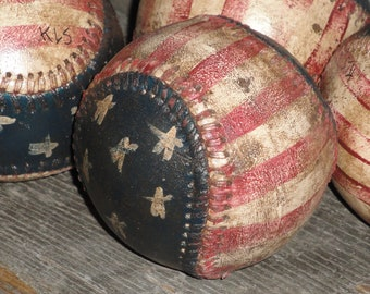 Patriotic Baseball | Americana Baseball | Stars And Stripes Baseball | Hand Painted Baseball | Repurposed Baseball | Flag Baseball
