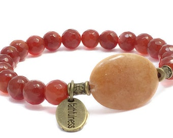 Gemstone Stretch Beaded Bracelet Faceted Carnelian Mother of Pearl Bronze Faithfulness Inspirational Jewelry