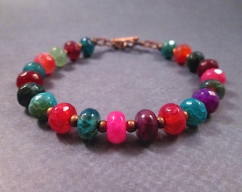 Gemstone Bracelet, Rainbow Dyed Agate, Colorful and Copper Beaded Bracelet, FREE Shipping U.S.