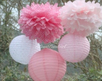PINK LACE // 3 tissue paper pom poms/3 paper lanterns / wedding decorations / tea party / birthday / baby shower / nursery decor